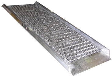 the open deck design allows snow ice and water to fall through ramp providing a positive grip for delivery men shippers and receivers - Aluminum Ramps