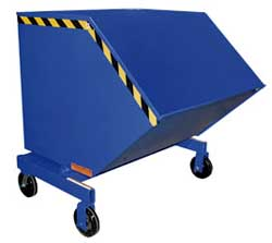 self dumping hopper is a large box on a hinged base that is filled with waste products in the workplace.