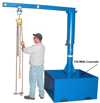 Vestil Portable Jib Crane With Concrete Base